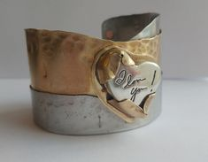 This personalized bracelet is so unique! The cuff was made by MadiJaxMetal and the personalized silver heart by A Timeless Impression Unique Bracelets, Cuff Bracelets, Personalized Jewelry, Custom Jewelry, Fingerprint Jewelry, Unique Gifts For Women, Memorial Jewelry, Keepsakes, Handwriting