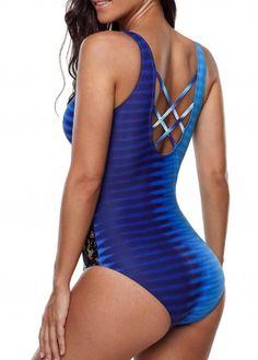 f00d866727 Criss Cross Back Lace Panel One Piece Swimwear