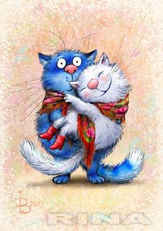 Синие коты Рины Зенюк #CatArt