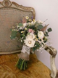 ... wedding bouquet. Love the burlap and lace!!! / wedding ideas