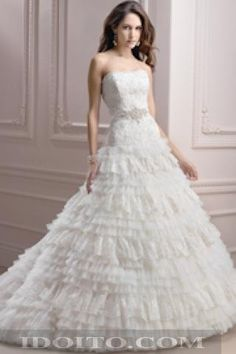 A-line Lace Chiffon With Beading Tiered Wedding Dresses
