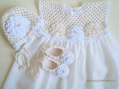 Linen crochet spring / summer dress hat and shoes / by Dachuks
