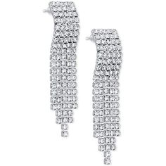 Say Yes to the Prom Silver-Tone Rhinestone Cascade Earrings, a Style (58 RON) ❤ liked on Polyvore featuring jewelry, earrings, silver, fringe jewelry, rhinestone earrings, silvertone earrings, prom earrings and prom jewelry