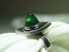 Danish Modernist Ring Niels Erik from Sterling Silver Chrysoprase Stone | eBay