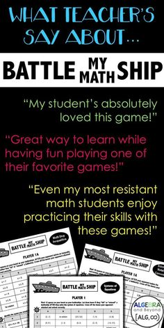 How To Produce Elementary School Much More Enjoyment Battleship Math Activity That Is Engaging, Fun, And Student's Absolutely Love It They Never Get Tired Of Sinking Ships Grade Math Game. Teaching Secondary, Secondary Math, Teaching Math, Maths, Fun Math, Teaching Ideas, Math Teacher, Math Classroom, Classroom Ideas