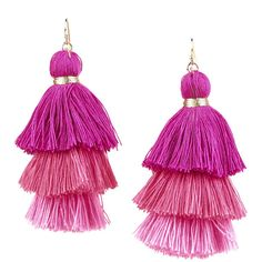 Armitage Avenue Three Tier Tassel Earrings ($19) ❤ liked on Polyvore featuring jewelry, earrings, fuchsia, fuchsia earrings, fuschia earrings, tassel earrings, fringe tassel earrings and tassle earrings