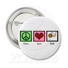 Peace Love & Knitting Button