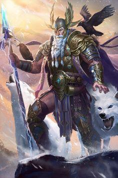) Odin - O deus ÆSIR que enfrentou o Gigante de Gelo, Ymir e fez o mundo a partir dele. Viking Warrior, Art Viking, Viking Woman, Fantasy Warrior, Fantasy Kunst, Fantasy Art, Odin Allfather, Odin Norse Mythology, Thor Norse