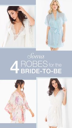"What's your bridal style? Whether it's a silky-soft lace-trimmed robe; a sheer ""something blue"" chiffon robe that gives a sexy glimpse of flirty, matching cami and tap pants; or a stunning floral bouquet you'd never want toss, these gorgeous robes make perfect shower or bachelorette gifts. Find the one for you or your bride at Soma.com."
