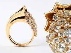 """""""Cornucopia Diamond Ring"""" (3183-01) The 18K golden horn of plenty is overflowing with 61 diamonds. The perfect gift for Thanksgiving."""