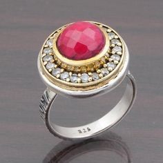 HOT RUBY & C.Z. STONE 925 SOLID STERLING SILVER RING JEWELLERY 7.93g DJR4650 #Handmade #Ring