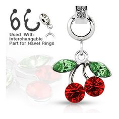 Add-On Red Gem Dangle Charm for Navel Belly Button Ring, Dermal Anchors and More, Women's