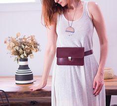 Burgundy Fanny Pack Leather Belt Bag Minimalist Hip Bag