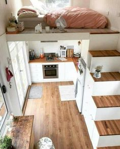 55 kleines Haus Wohnzimmer Dekor Ideen - Shin Minyeon- # Decor - With everything # forever - Mixer Tiny Spaces, Small Apartments, Small Rooms, Tiny House Living, Small Living, Tiny House With Loft, Tiny House Family, Decor Home Living Room, Room Decor