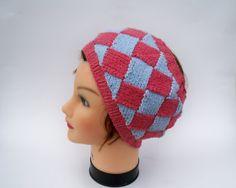 Entrelac Headband  Knit Ear Warmer In Blue And by BettyMarieJones, $20.00