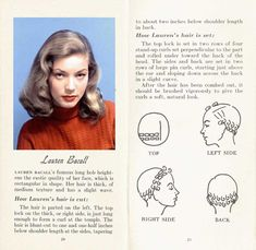 Vintage Hairstyles Retro Lauren-Bacall-Hairstyle How to achieve the Lauren Bacall Hairstyle - How to achieve the Lauren Bacall Hairstyle. Lauren Bacall's famous long bob heightens the exotic quality of her face, which is rectangular in shape. 1950s Hairstyles, Curled Hairstyles, Diy Hairstyles, Hollywood Hairstyles, Wedding Hairstyles, Pinterest Hairstyles, Vintage Hairstyles Tutorial, Baddie Hairstyles, Homecoming Hairstyles