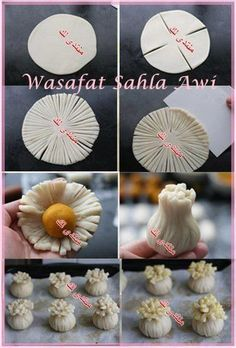 Pattern for Potli Samosa For the July daring cooks chal Japanese Sweets, Turkish Recipes, Indian Food Recipes, Cute Food, Yummy Food, Bread Recipes, Cooking Recipes, Bread Shaping, Bread Art
