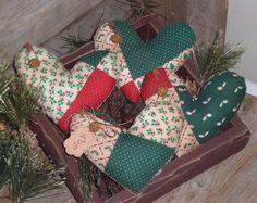 4 Primitive Christmas Hearts JOY Faux Patchwork Bowl Fillers Ornies Ornaments  #Primitive #ChooseMoosePrimitiveDesigns