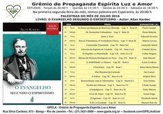 Calendário de Palestras Públicas do GPELA Julho de 2016 - Bangu - RJ - http://www.agendaespiritabrasil.com.br/2016/07/02/calendario-de-palestras-publicas-do-gpela-julho-de-2016-bangu-rj/