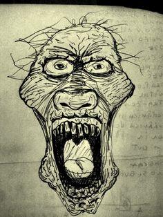 Criatura podre em caderno de anotações