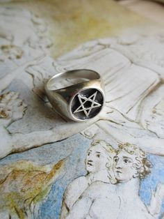 70's Vintage Men's Pentagram Ring pagan biker sz by PaisleyBabylon
