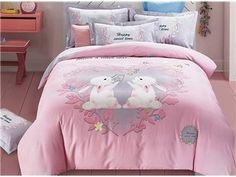 Super Cute Rabbit Pattern Pink Kids Cotton 4-Piece Duvet Cover Sets