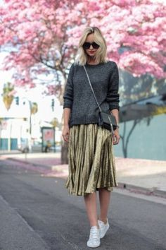 Grey Sweater + Gold Skirt