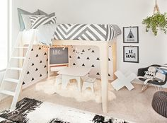 How fun is this whimsical play space under the @oeufnyc loft bed?! So perfect in a mod big kid room!