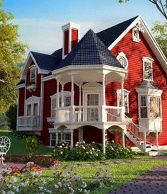 Red House Paint Designs Innovative Victorian Cottage Homes in attachment with category Design Victorian Style Homes, Victorian Cottage, Victorian Homes Exterior, Victorian Farmhouse, Modern Victorian, Vintage Modern, Red Houses, Colorful Houses, Red Cottage