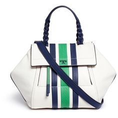 Tory Burch 'Half-Moon' small stripe print leather satchel ($550) ❤ liked on Polyvore featuring bags, handbags, white, tory burch handbags, genuine leather purse, leather satchel purse, white purse and leather purses