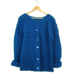 Chunky Knit Sweater 80s Teal Blue Cardigan Button Up COZY Loose Knit... (£30) ❤ liked on Polyvore featuring tops, cardigans, button up cardigan, knit cardigan, knit top, open knit cardigan and button down cardigan
