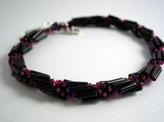 Spiral rope bracelet with black bugle beads