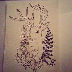 Deer, Fern, and Flowers