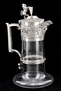 Elkington & Co. Silver Plate and Cut Glass Claret Ewer, England, ca. 1874