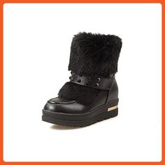 Women's Round Closed Toe Kitten-Heels Soft Material Low-Top Solid Boots With Metal