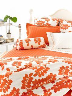 White Orange Floral Print Bed Cover -Erika Persimmon Duvet Cover.