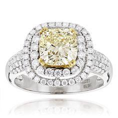 Halo Natural Yellow Cushion Cut Diamond Engagement Ring 4ct 18K White Gold