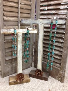 Rustic Handmade Jewelry Bar with Metal Rose $22.95-$28.95 www.gugonline.com