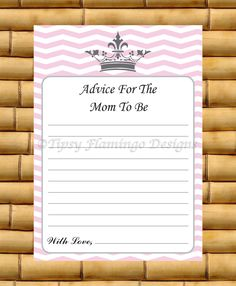 Baby Shower Game, Advice For The Mom To Be, Baby Shower Game Card, Pink and White, Princess Crown, Printable Instant Download - TFD228 by TipsyFlamingoDesigns on Etsy