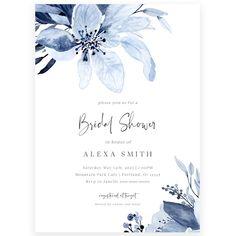 Blue Florals Bridal Shower Invitation | Forever Your Prints