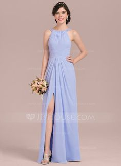 [CA$ 167.47] A-Line/Princess Scoop Neck Floor-Length Chiffon Bridesmaid Dress With Ruffle Beading Sequins Split Front