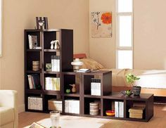 Bed n living room bookshelf divider