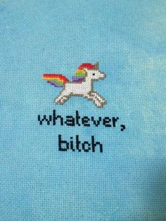 Whatever Bitch Rainbow Unicorn Cross Stitch Pattern PDF Unicorn Cross Stitch Pattern, Cross Stitch Patterns, Modern Cross Stitch, Crochet Patterns, Cross Stitching, Cross Stitch Embroidery, Embroidery Hoops, Party Unicorn, Rainbow Unicorn