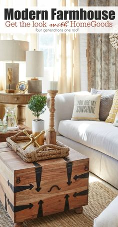 Modern Farmhouse Living Room {behind the scenes at HomeGoods}