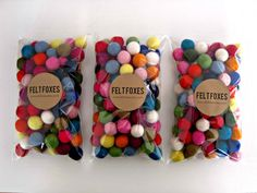 Felt Balls x 100 Multicolored Wool 20mm size by FeltFoxes on Etsy, $25.00
