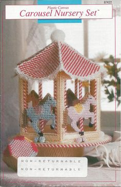 Pattern Book Only  Carousel Nursery Set Annies Attic - By Mary Layfield Published In 1991 - 20 Pages  7 Count Canvas  Brag Book