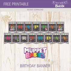 Use this free printable Muppet Babies birthday banner template to make your own banner for a Muppet Babies themed birthday party. Birthday Banner Template, 1st Birthday Banners, Baby Banners, Baby Birthday Themes, Boy Birthday Parties, Birthday Fun, Birthday Ideas, Happy Birthday Wallpaper, Muppet Babies