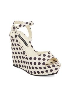 Alice + Olivia   Black Jenna Polka Dot Platform Wedge Sandals   Lyst
