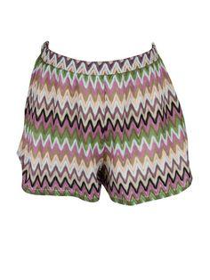 Lovers + Friends womens woodstock multi zig zag side zip shorts M