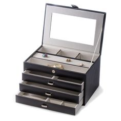 Black Leather 4 Level Jewelry Box w/ Compartments & three drawers. Allurez offers the finest selection of Diamonds and fine jewelry. Jewellery Boxes, Jewellery Storage, Jewelry Box, Bead Organization, Bead Storage, Buy Loose Diamonds, Mens Diamond Stud Earrings, Copper Jewelry, Black Jewelry